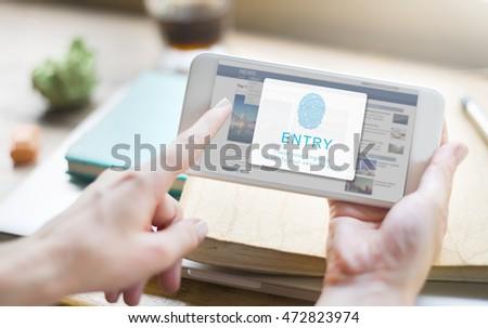 Fingerprint Password Biometrics Technology Concept #472823974