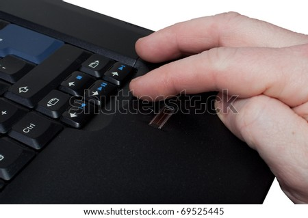 Fingerprint reader on black laptop with fingers