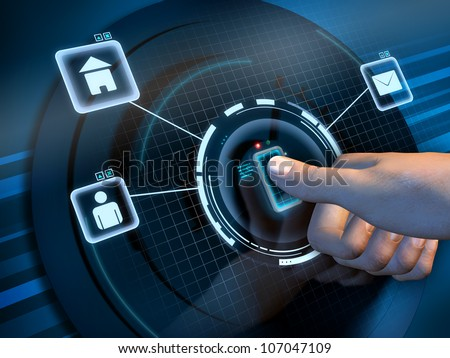 Fingerprint recognition used to access a software interface. Digital illustration.