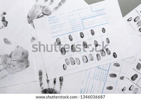 Fingerprint record sheets, top view. Criminal investigation #1346036687