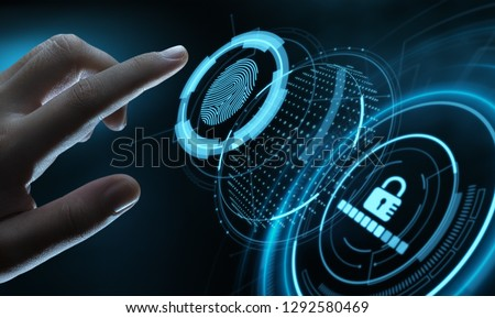 Fingerprint scan provides security access with biometrics identification. Business Technology Safety Internet Concept.