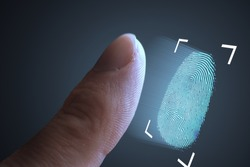 Fingerprint scanning from finger. Technology, security and biometric concept.
