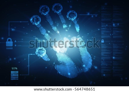 Fingerprint Scanning Technology Concept 2d Illustration #564748651