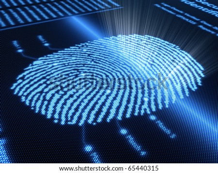 Fingerprint scanning technology on detail pixellated screen 3D render