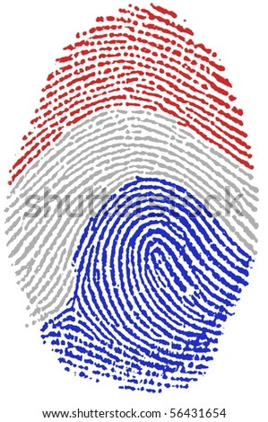 Fingerprint stamp on white paper for Dutch Flag