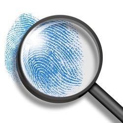 fingerprint through magnifying glass