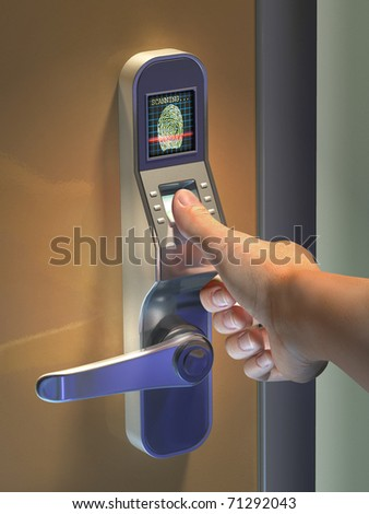 Fingerprint used as an identification method on a door lock. Digital illustration.