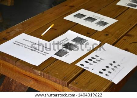 Fingerprinting cards from a fingerprinting class. #1404019622
