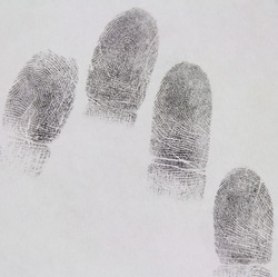 Fingerprints on paper. Take it from the suspect
