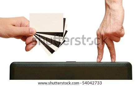 fingers are going to contrast business card in hand