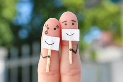 Fingers art of couple. Concept of people hiding emotions.