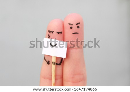 Fingers art of couple. Concept of woman hiding emotions, man is happy.