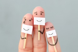 Fingers art of family. Concept of people hiding emotions.