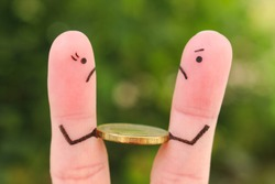 Fingers art of family during quarrel. Concept of man and woman cannot divide money after divorce.