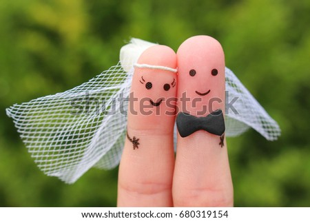 Fingers art of happy couple to get married. Concept of wedding ceremony. Stock foto ©
