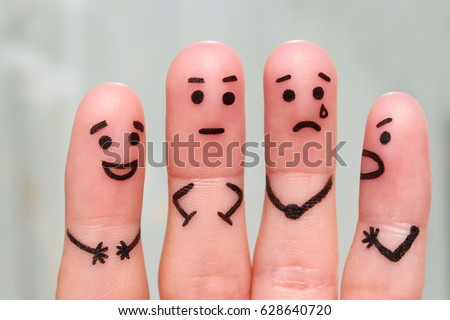 Fingers art of people. Concept of group of people with different personalities.