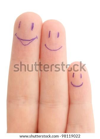 fingers family on white