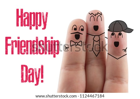 fingers Friend isolated white background. Happy international friendship day. #1124467184