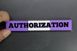 fingers holding colored wooden blocks with the word authorization