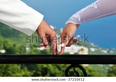 fingers of bride and groom going towards each other over wonderful view