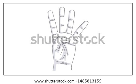 Fingers web icon. Linear illustration. Forefinger, middle finger, ring finger, little finger. Four fingers up. Counting. Gesture.