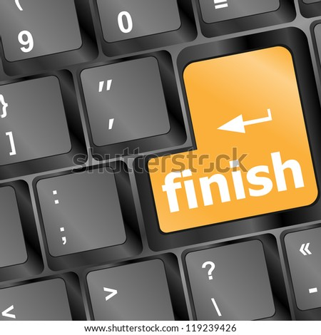 finish button on black internet computer keyboard, raster