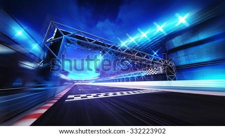 finish gate on racetrack stadium and spotlights in motion blur, racing sport digital background illustration