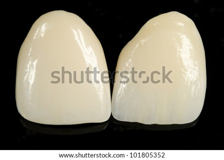 finished ceramic front crowns, black background