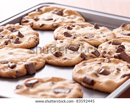 finished cookies right out of the oven - stock photo