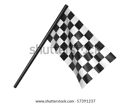 Finishing checkered flag. 3d on a white background