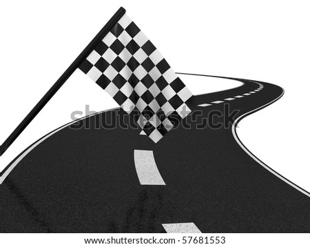 Finishing checkered flagand road. 3d on a white background