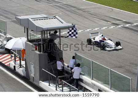 finishing line and the chequered flag