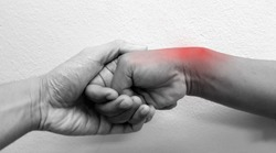 Finkelstein's test or modified Eichoff maneuver is physical examination test for diagnosis De Quervain syndrome or radial styloid tenosynovitis disease). Patient has wrist pain(red) and tendinitis.