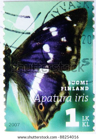FINLAND-CIRCA 2007:A post stamp printed in Finland showing  butterfly, series insect, circa 2007
