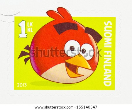 FINLAND CIRCA 2013 A postage stamp printed in Finland showing an image of the Red Bird a computer game character circa 2013