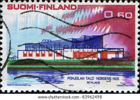 FINLAND - CIRCA 1973: A stamp printed in Finland shpws Nordic House, Reykjavik, Nordic Countries\' Postal Co-operation series, circa 1973