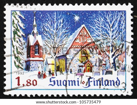 FINLAND - CIRCA 1992: a stamp printed in the Finland shows Church of St. Lawrence, Vantaa, Finland, Christmas, circa 1992