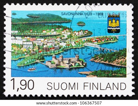 FINLAND - CIRCA 1989: a stamp printed in the Finland shows View of Savonlinna, 350th Anniversary of Savonlinna Municipal Charter, circa 1989