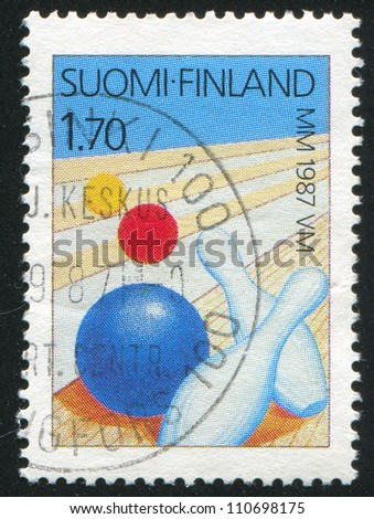 FINLAND - CIRCA 1987: stamp printed by Finland, shows Bowling Alley, Ball and Pins, circa 1987