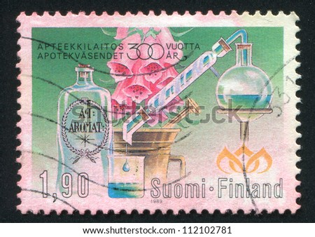 FINLAND - CIRCA 1989: stamp printed by Finland, shows Finnish Pharmacies, circa 1989