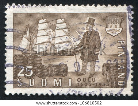 FINLAND CIRCA 1955 stamp printed by Finland shows Sailing Ship and Merchant circa 1955