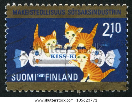 FINLAND - CIRCA 1991: stamp printed by Finland, shows Three Kittens and Candy, circa 1991