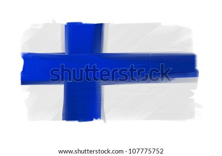 Finland hand painted national flag isolated on white