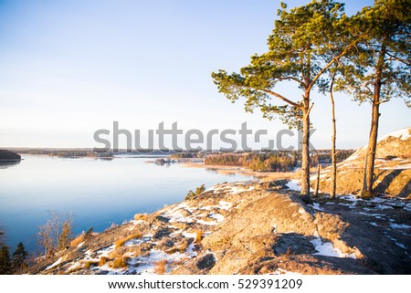 Finland, Helsinki, late autumn. Baltic sea, bay. Still water of the gulf, islands with forests. Low winter sun, dusk, pine trees on rock.  Scenic peaceful Finnish landscape.