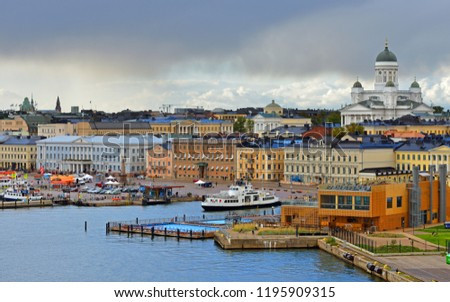 FINLAND, HELSINKI - SEPT 24, 2018: Evangelical Lutheran cathedral of Diocese of Helsinki, Market Square (Kauppatori), Allas Sea Pool in September