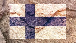 Finland national flag icon isolated on weathered strong rock wall background, positive Finnish political concept texture wallpaper