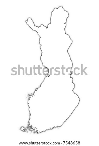 Finland outline map with shadow.