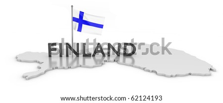 Finland Tribute/Digitally rendered scene with flag and typography