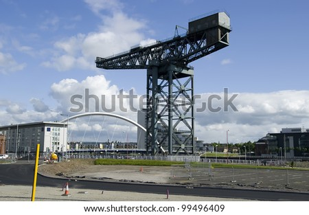 Finnieston Crane on the quayside on the River Clyde, Glasgow. UK