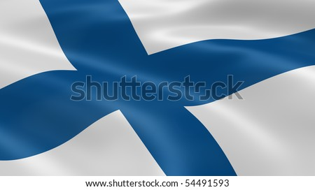Finnish flag in the wind. Part of a series. - stock photo